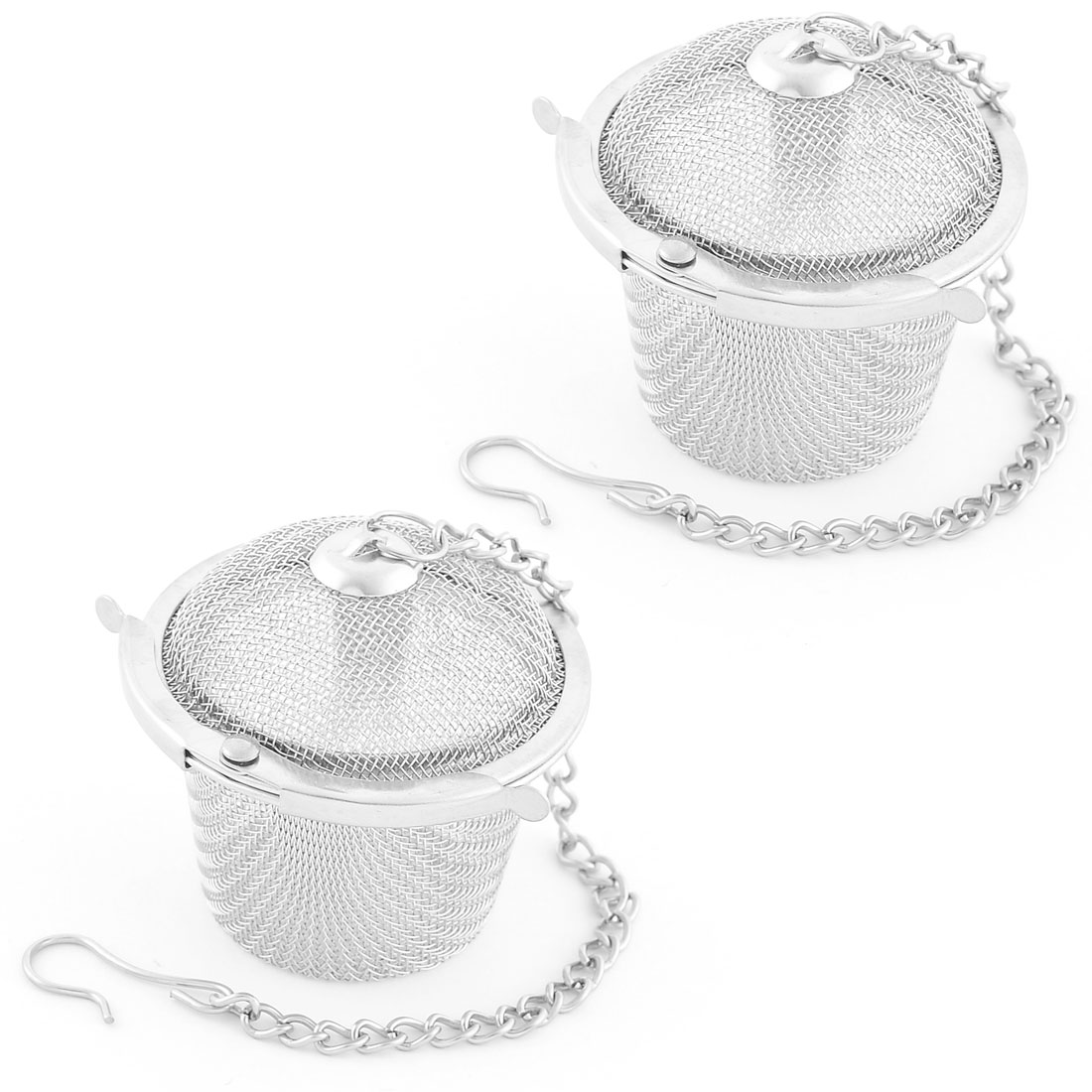 Stainless Steel Mesh Locked Infuser Filter Diffuser Tea Stainer 36mm Dia 2PCS