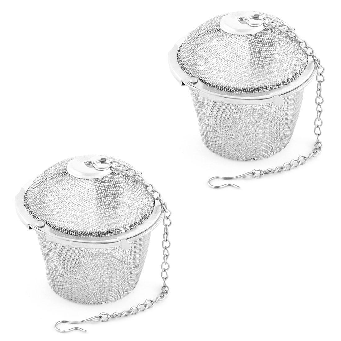 Household Mesh Locked Infuser Filter Tea Stainer Silver Tone 64mm Diameter 2PCS