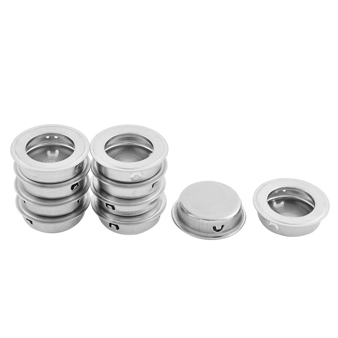 Drawer Dresser Rounded Stainless Steel Flush Pull Handle Silver Tone 10 PCS