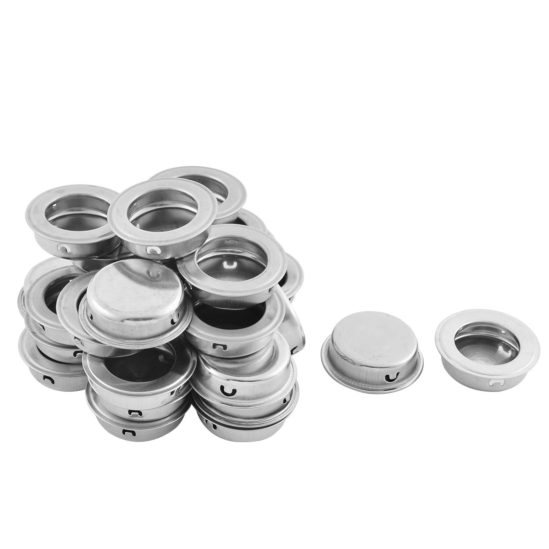 Kitchen Furniture Rounded Stainless Steel Recessed Flush Handle Silver Tone 30 PCS