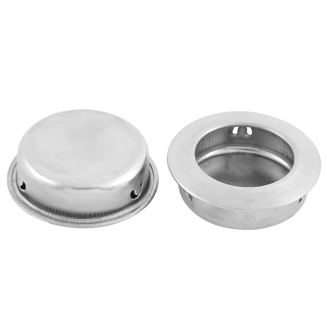 Cabinet Stainless Steel Circular Recessed Flush Door Handle Pull 40mm Dia 2 PCS