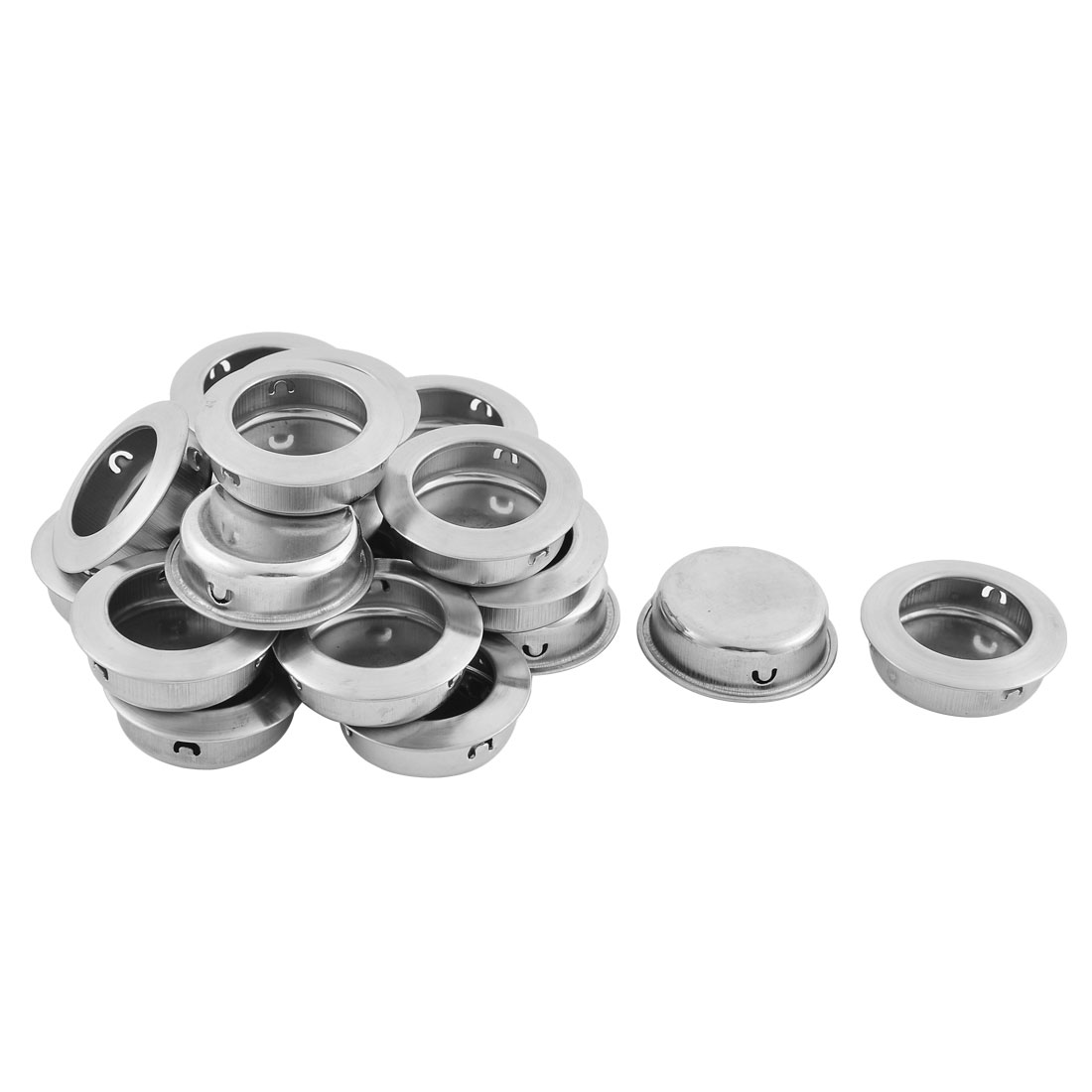 Cupboard Drawer Dresser Rounded Flush Pull Handle Silver Tone 20 PCS