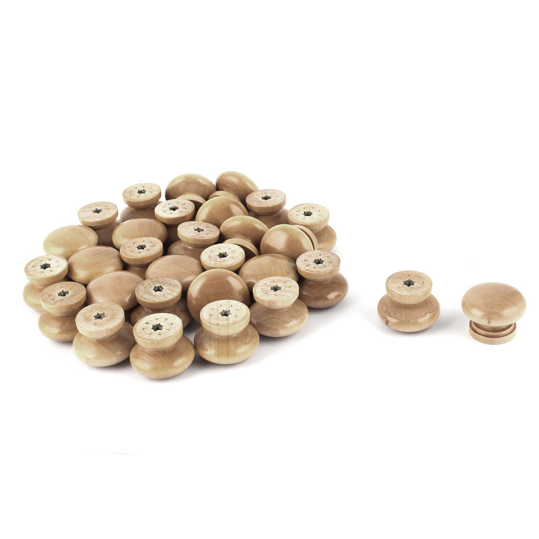 Home Office Kitchen Wooden Round Shaped Cabinet Drawer Pull Knob Handle 30 Pcs