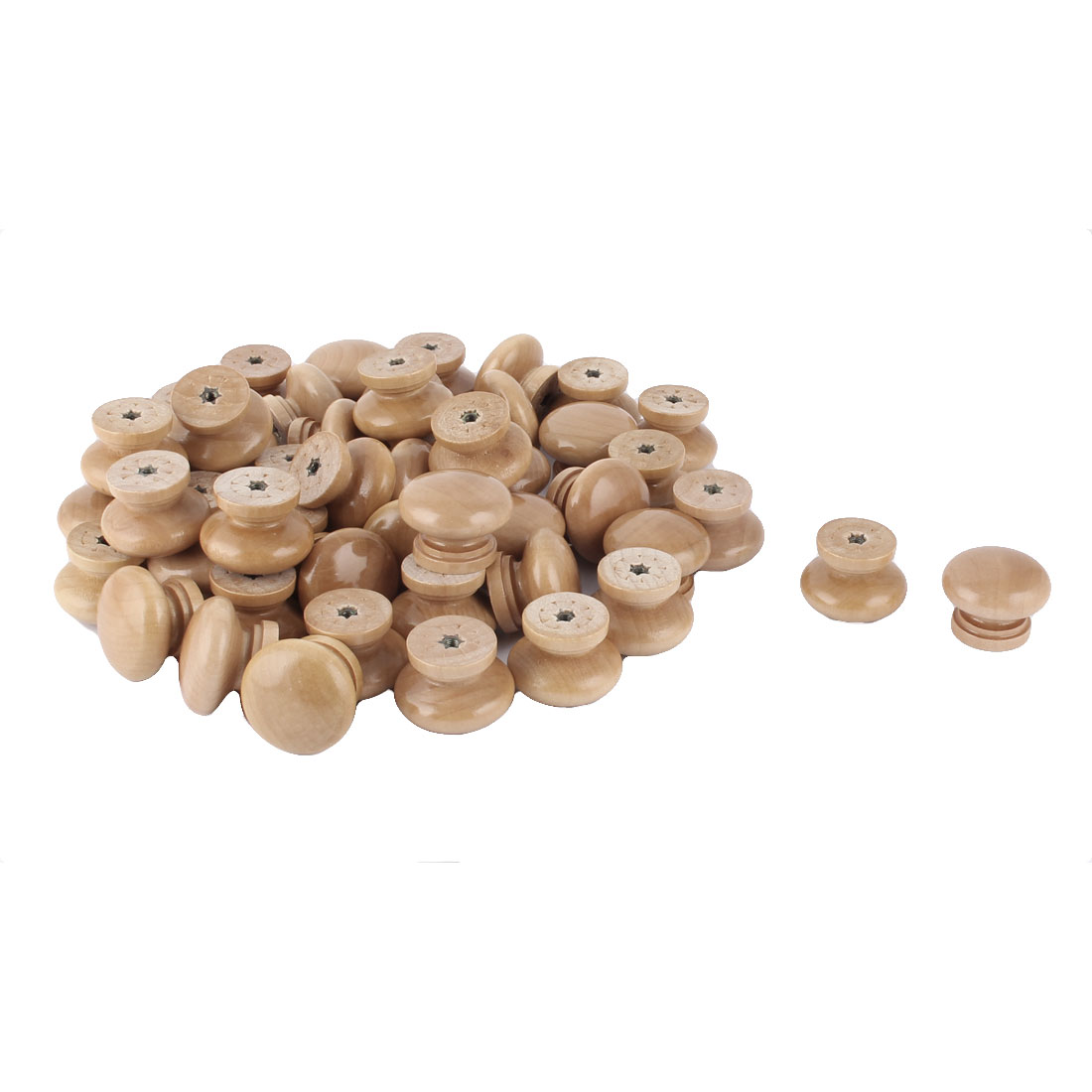 Home Office Kitchen Wooden Round Shaped Cabinet Drawer Pull Knob Handle 50 Pcs