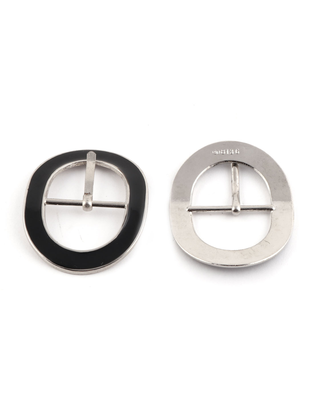 Unisex Ellipse Shaped Metal Leather Shoes Ornament Component Needle Buckles Pair
