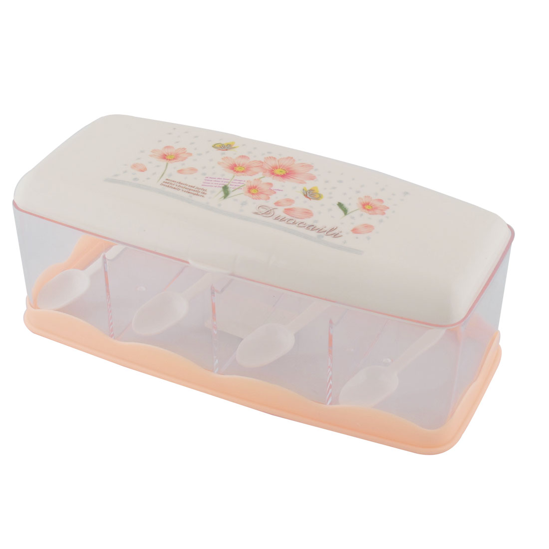 Kitchen Plastic Flower Print 4 Slots Spices Condiment Container Dispenser Case Orange