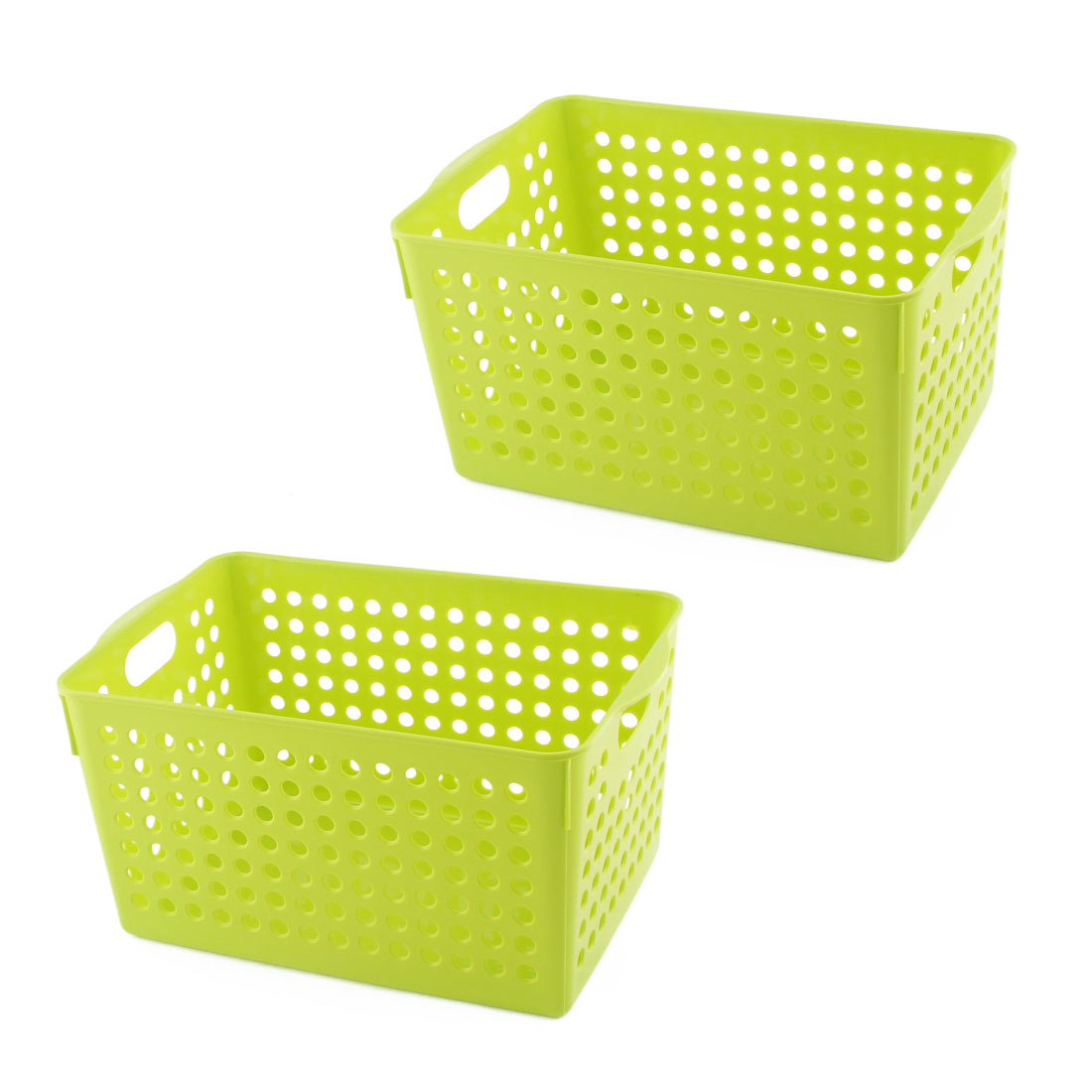 Bathroom Plastic Rectangular Shape Hollow Out Design Storage Organizer Basket Green 2pcs