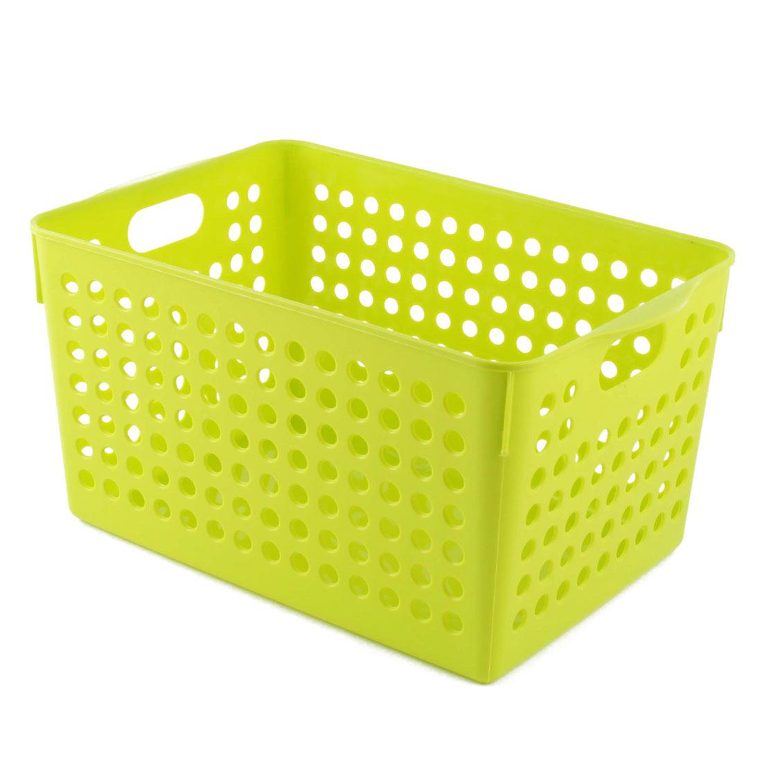 Bathroom Plastic Rectangular Shape Hollow Out Design Storage Organizer Basket