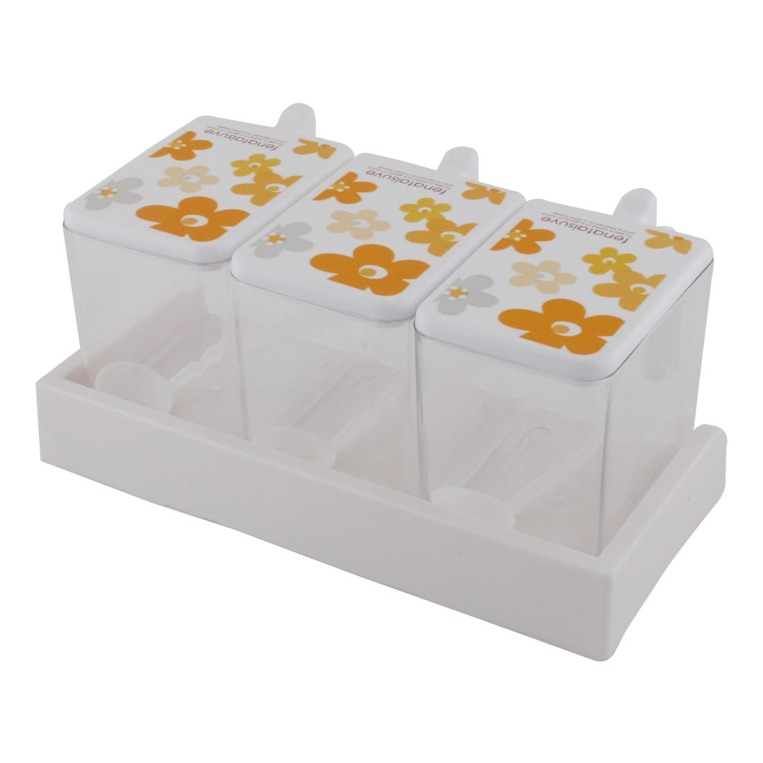 Household Kitchen Plastic 3 Sections Spices Condiment Container Dispenser Case Orange