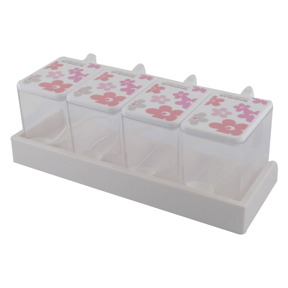 Kitchen Plastic Flower Print 4 Sections Spices Condiment Container Dispenser Case Pink