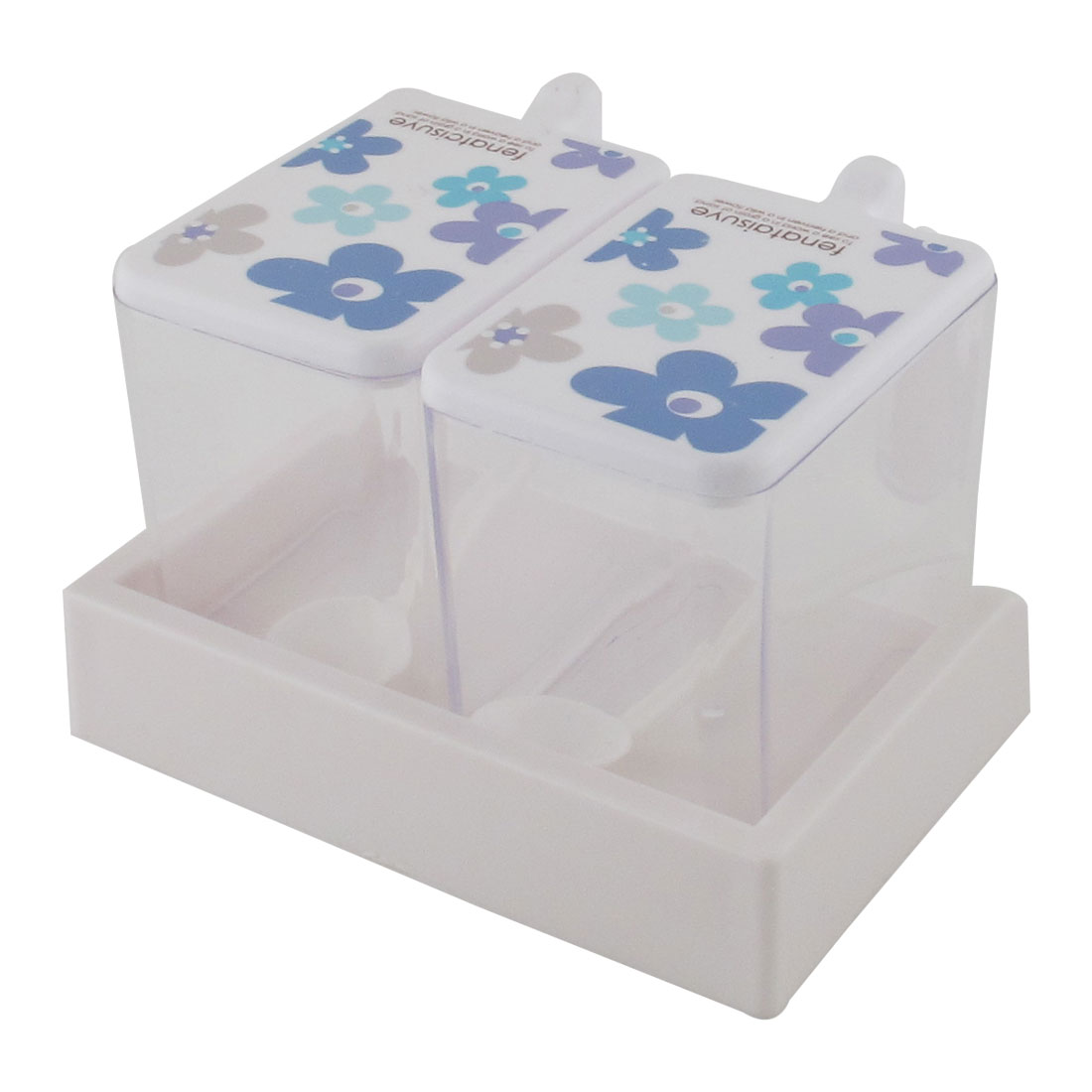 Kitchen Plastic Flower Print 2 Sections Spices Condiment Container Dispenser Case Blue