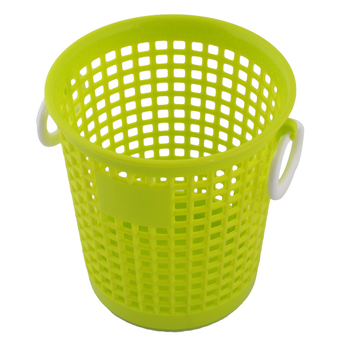 Household Plastic Cylindrical Shape Storage Sundries Organizer Basket Box Yellow Green
