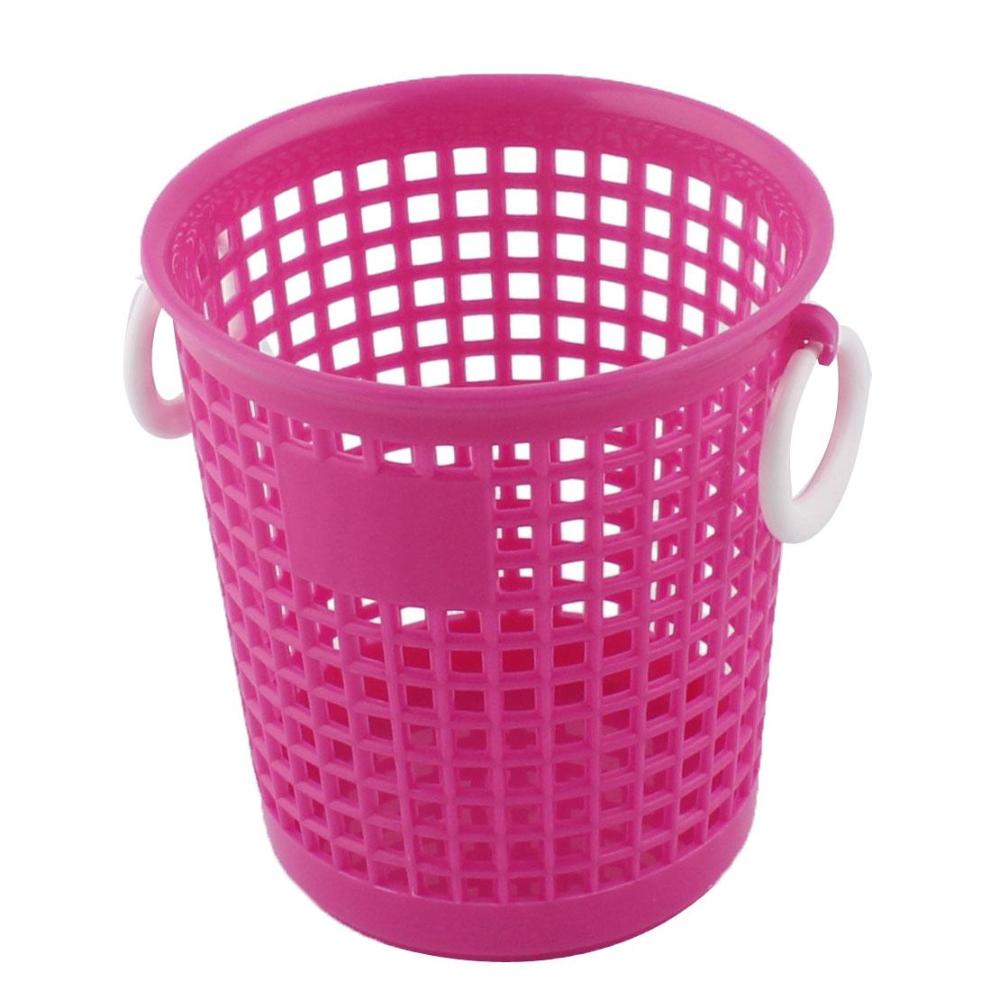 Household Plastic Cylindrical Shape Storage Sundries Organizer Basket Box Fuchsia