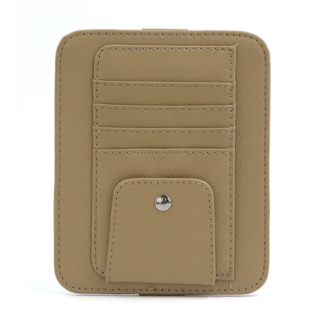 5 Slots Car Sun Visor CD DVD Business Card Storage Pocket Holder Organizer Beige