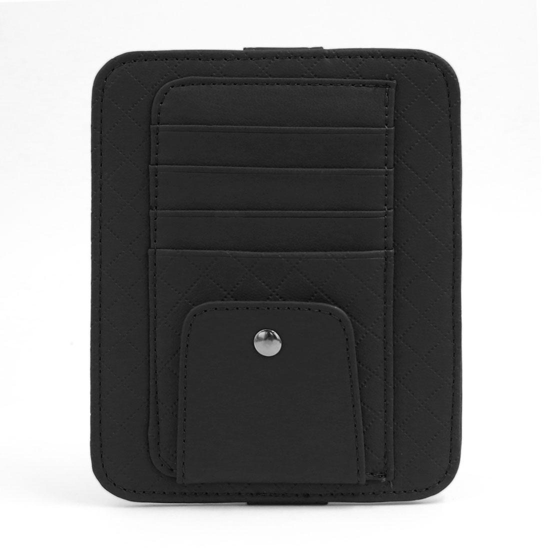 Hook Loop Fastener Car Sun Visor CD Case Business Name Card Holder Pocket Black