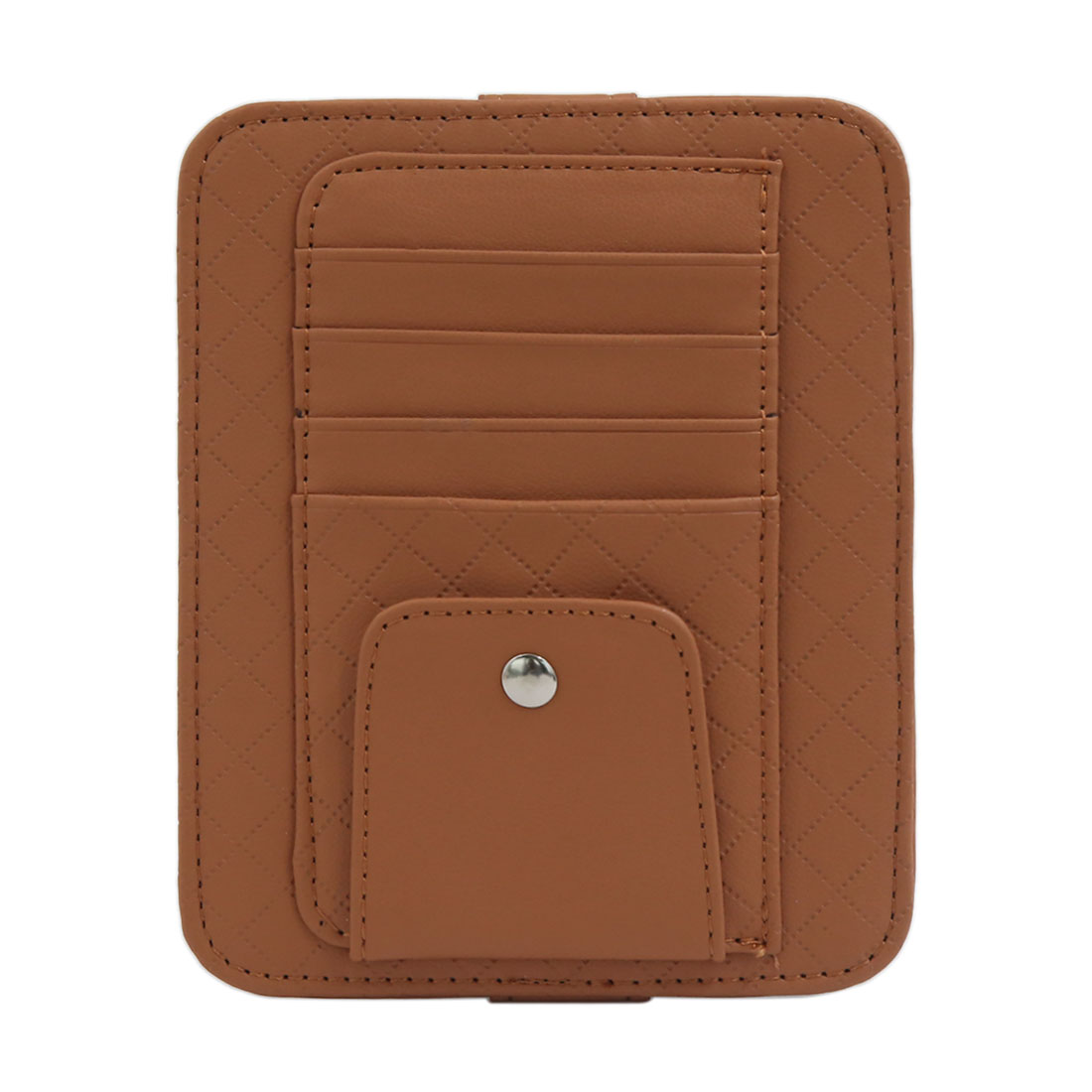 Multi-function 4 Capacity Credit Card Holder Case Bag Glasses Clip Brown for Auto Vehicle