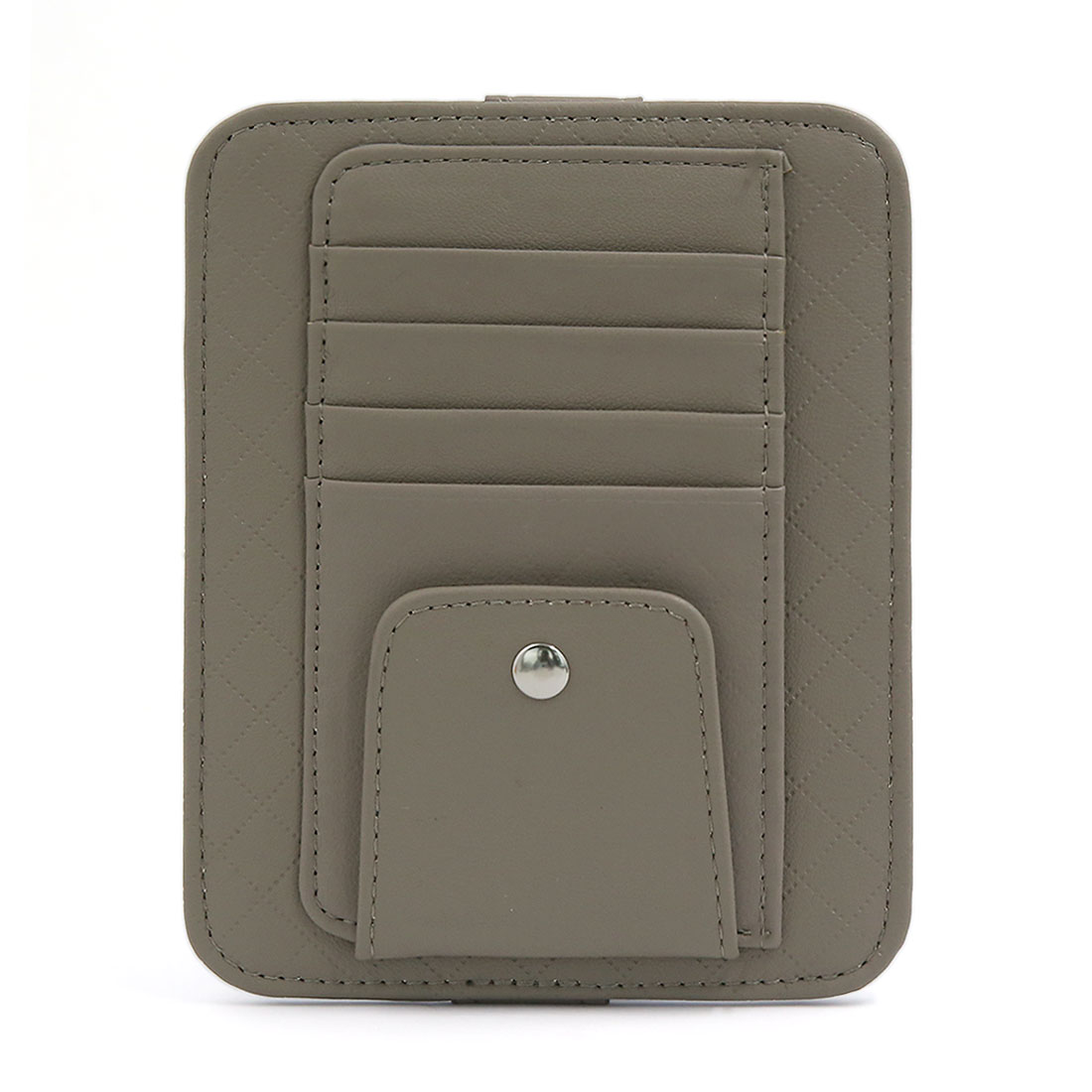 Gray Faux Leather Car Sun Visor Organizer Business Card Storage Case Auto Sunglass Holder