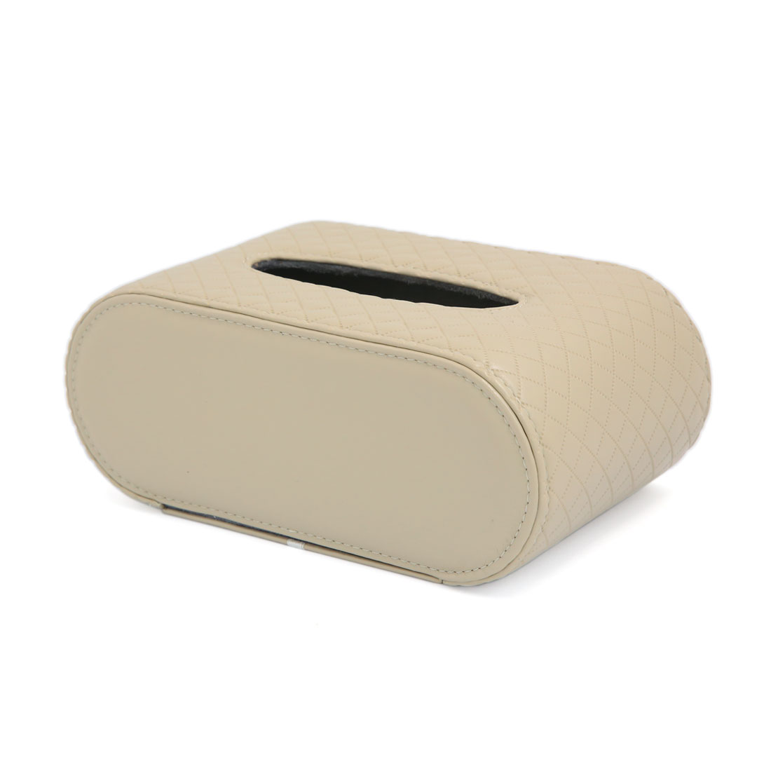 Beige Faux Leather Rectangular Paper Cover Case Tissue Box Napkin Holder Car Home Decor