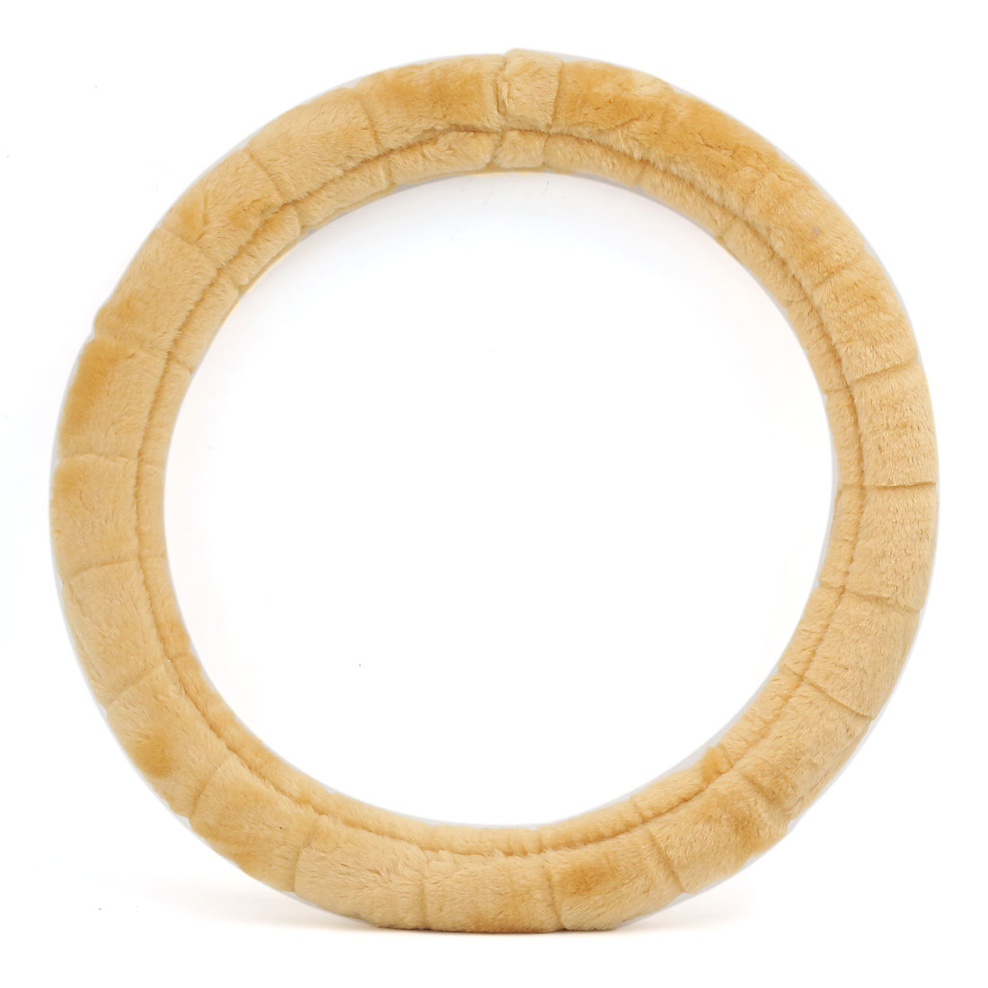 Universal Soft Plush Fuzzy Auto Car Steering Wheel Cover Gold Tone for Winter