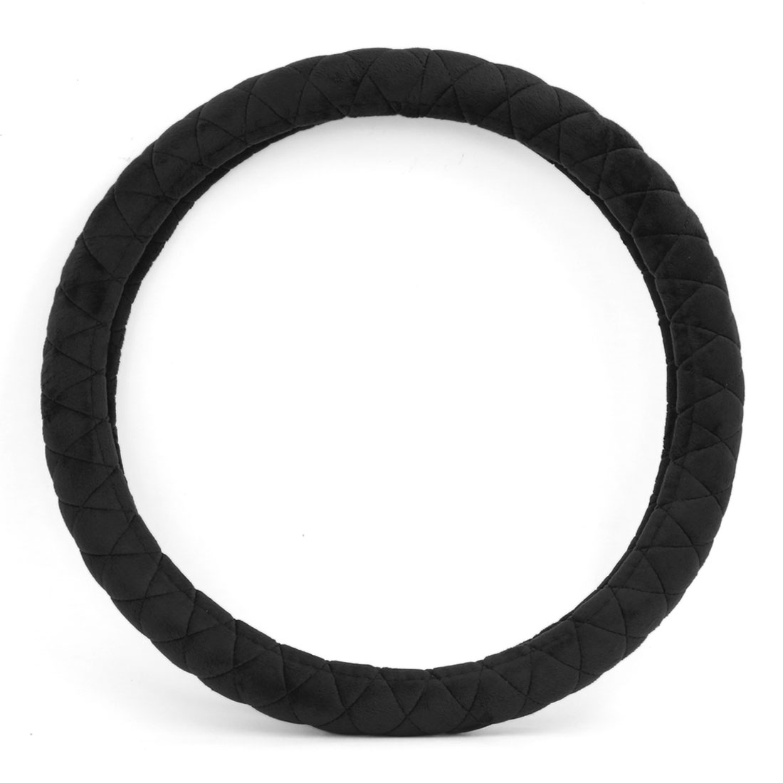 38cm Outer 31cm Inner Dia Comfortable Short Plush Car Steering Wheel Cover Black