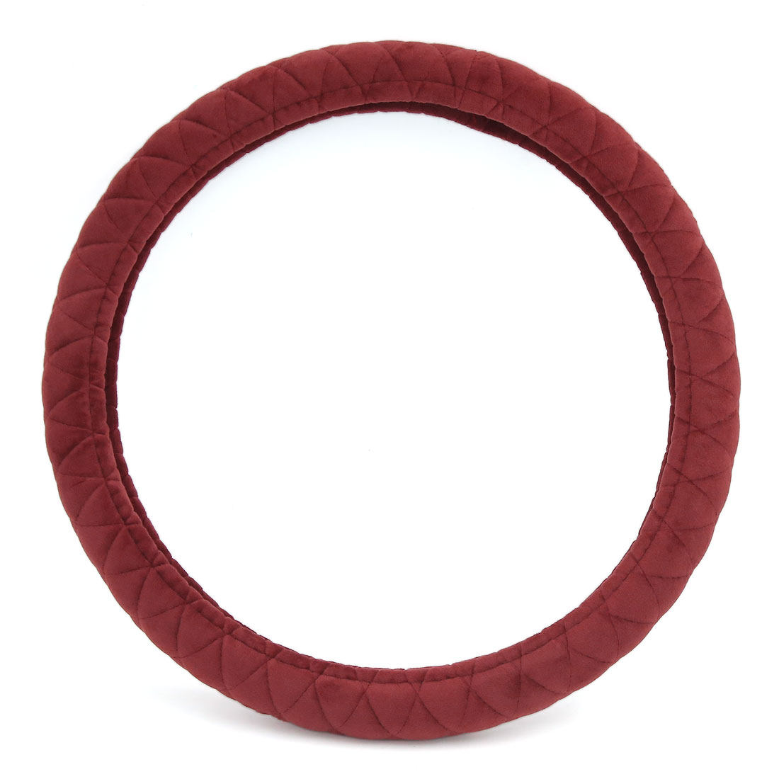 Winter Warm Soft Short Plush Fuzzy Car Steering Wheel Cover 38cm Dia Burgundy