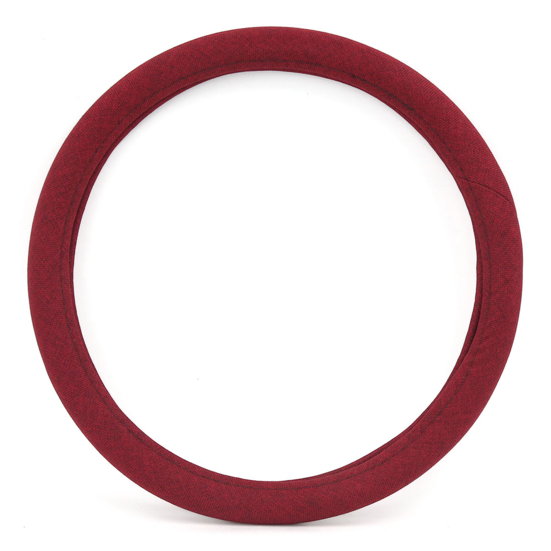 Burgundy Linen Breathable Skidproof Cover Protector Fits 15 Inch Dia Car Steering Wheel