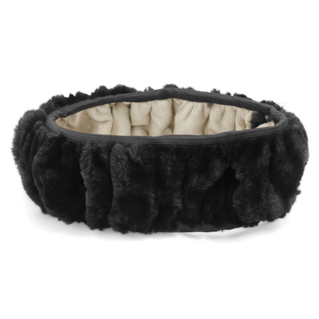 Black Warm Fluffy Soft Plush Flexible Car Steering Wheel Cover for Winter