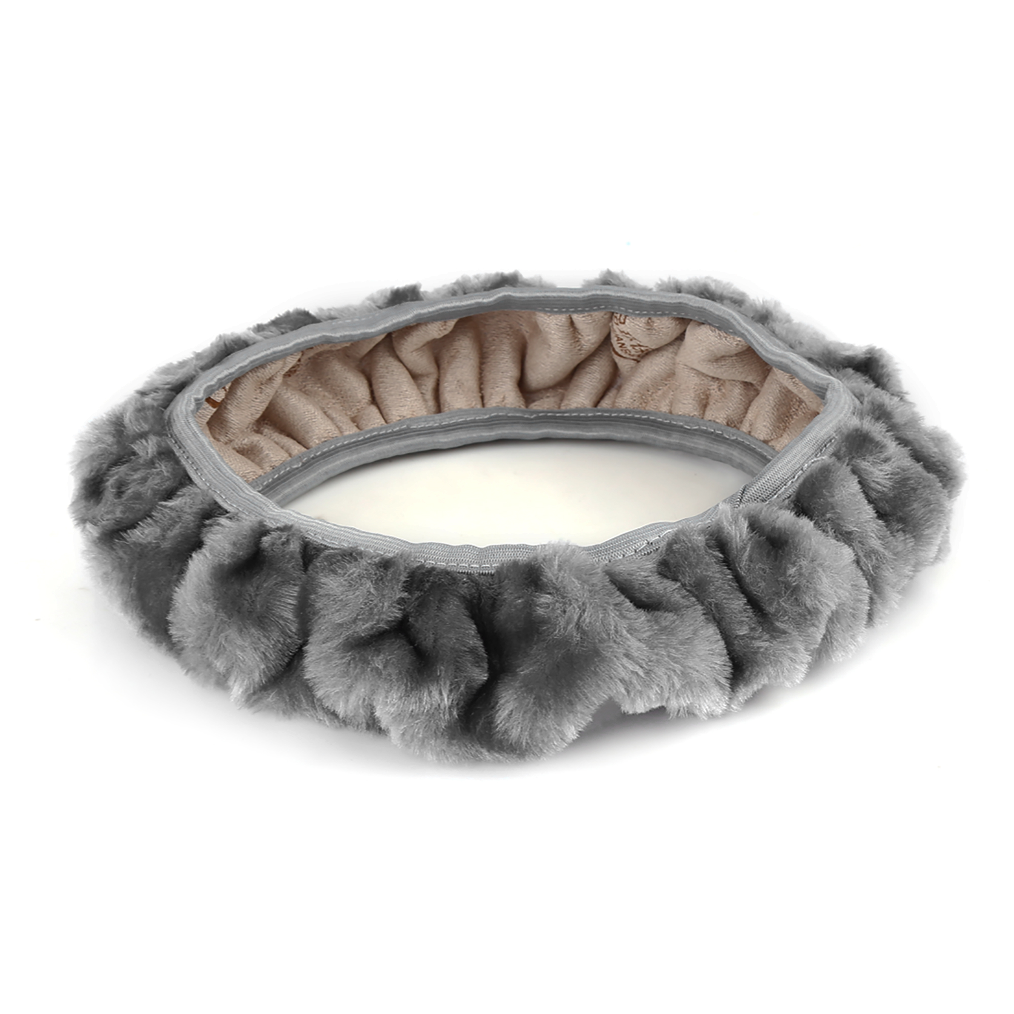 Gray Soft Plush Fuzzy Auto Car Truck Steering Wheel Cover Warm for Winter
