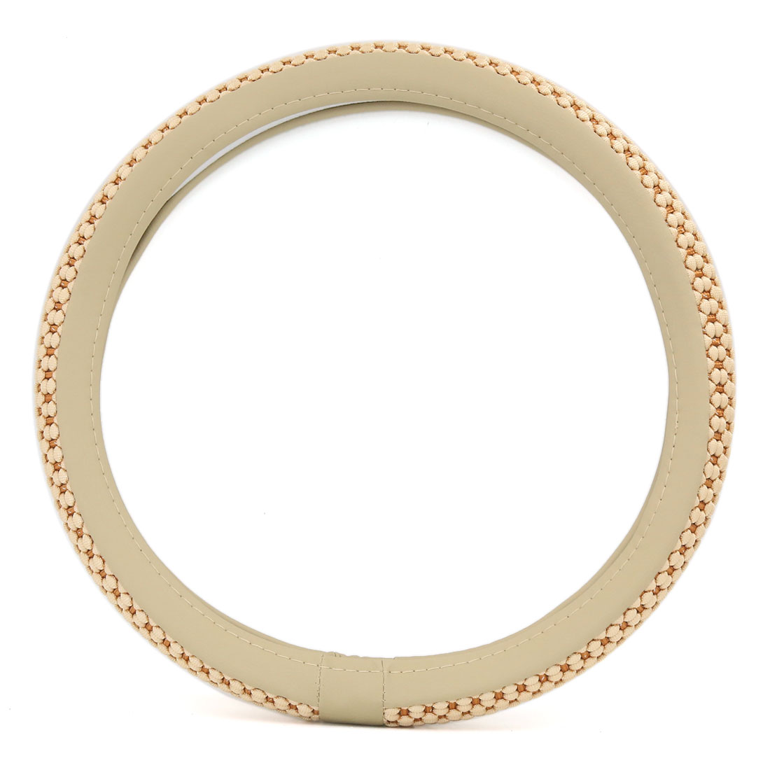 Automotive Comfort Odorless Breathable Safety Steering Wheel Cover 38cm Outer Dia Beige