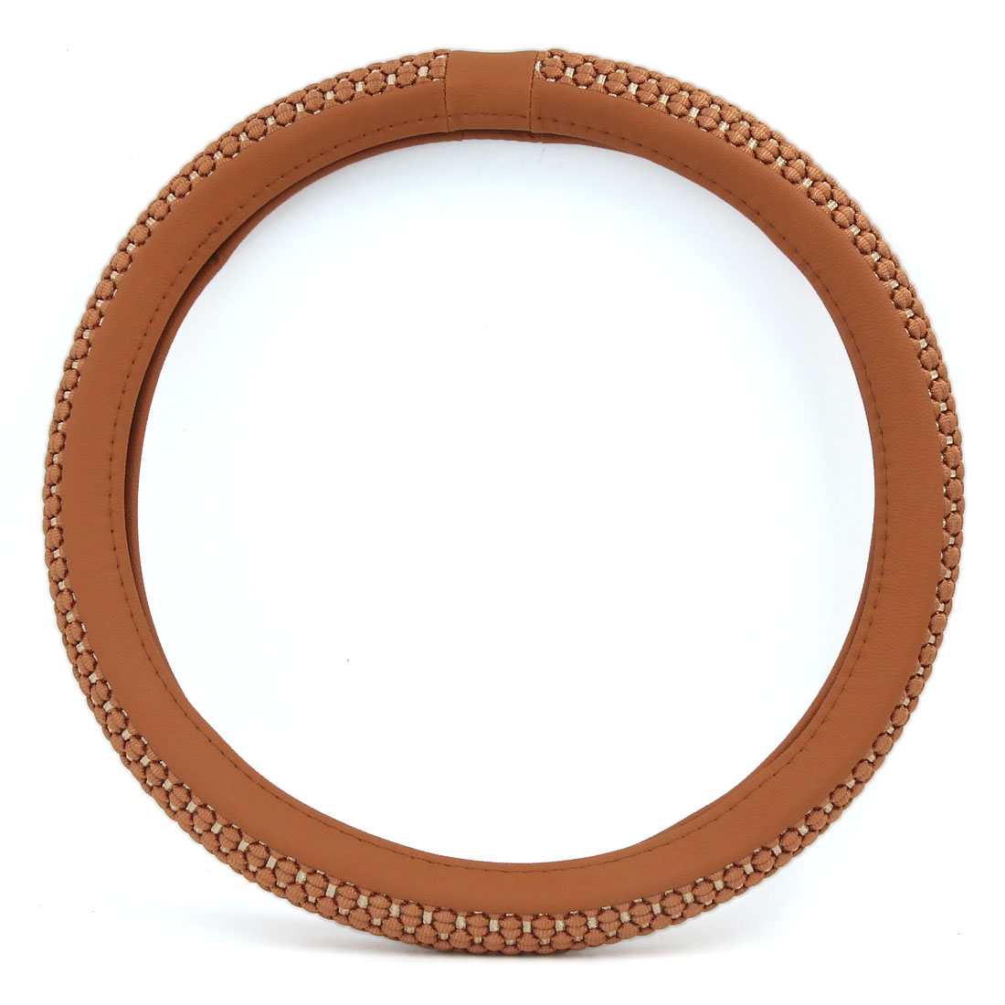 Universal Car Auto Brown Ice Silk Fabric Steering Wheel Cover Protector 38cm Dia