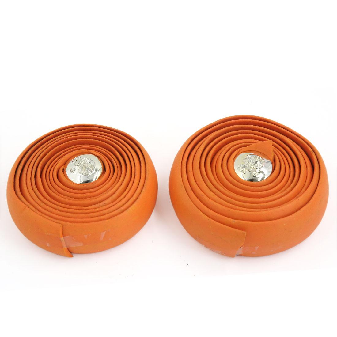 Pair Orange Foam Anti Slip Bar Padded Wrap Handlebar Tape for Bike Fixed Gear