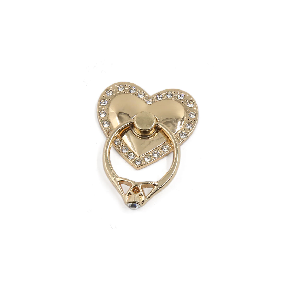 Gold Tone Heart Style Smart Phone Stand Holder 360 Degree Rotation