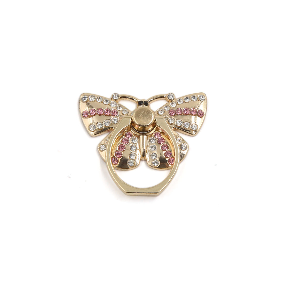 Stylish Decor Faux Crystal Embedded Butterfly Shaped Nonslip Phone Ring Stent Holder Finger Grip