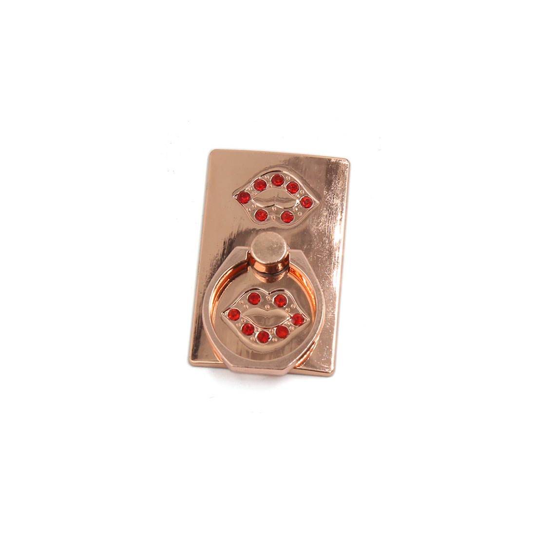 Champagne Color Red Faux Crystal Decor Free Angle Smart Phone Finger Ring Holder