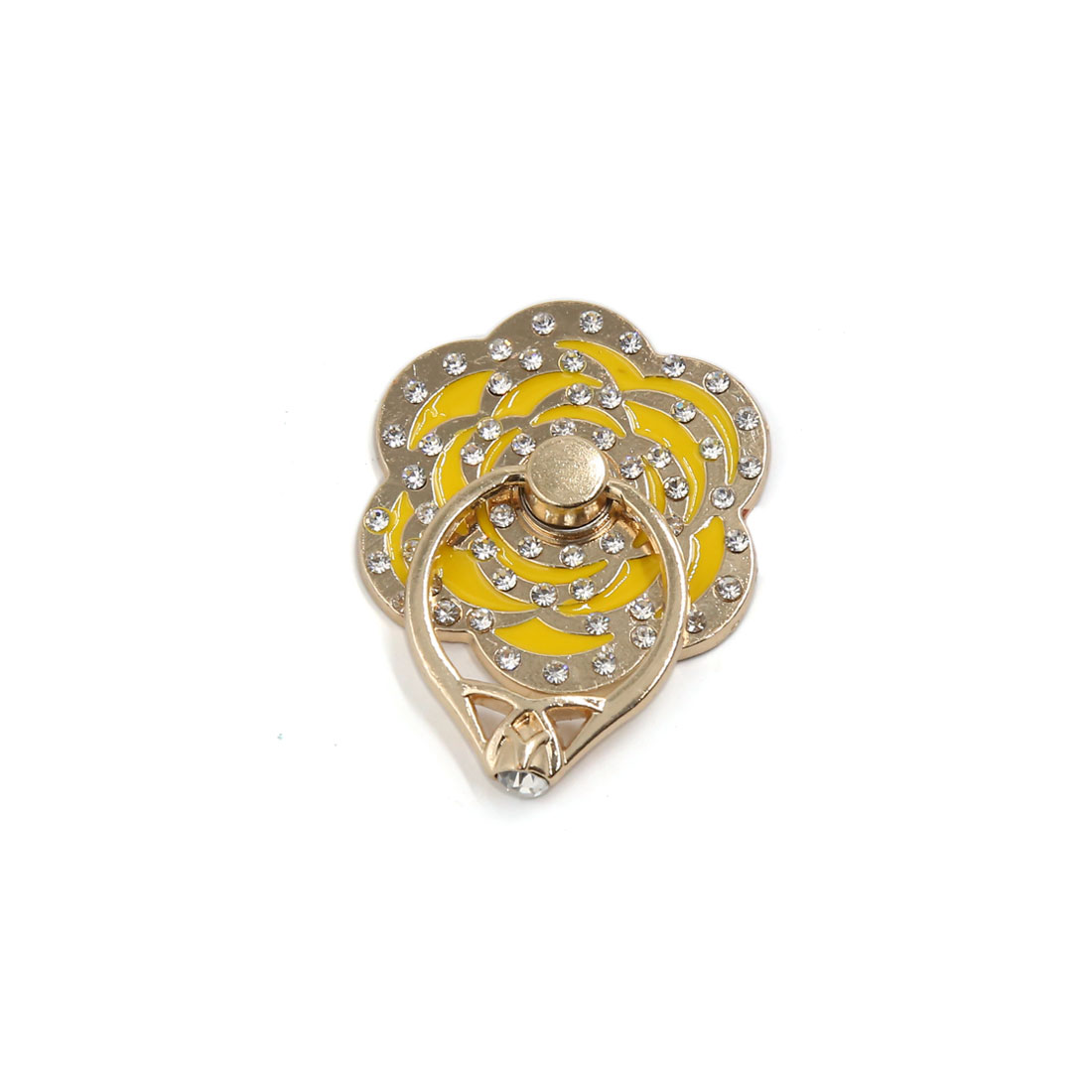 Gold Tone Yellow Flower Style Smartphone Skidproof Stent Holder Finger Ring Grip