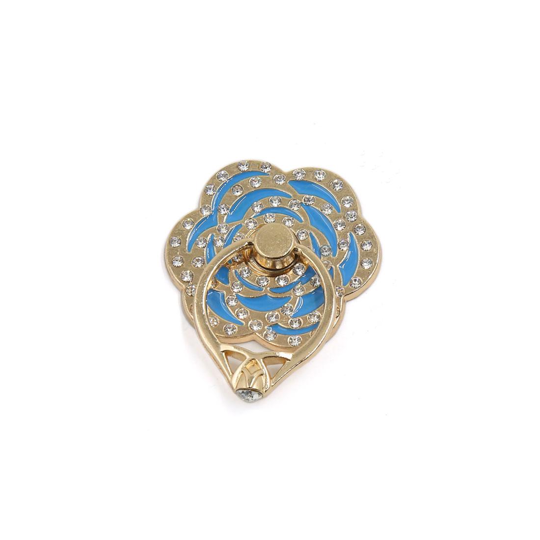 Blue Gold Tone Rhinestone Decor Finger Grip Ring Holder for Mobile Phone