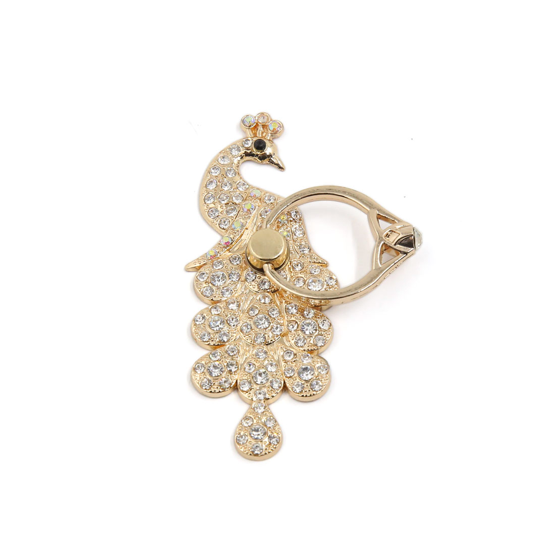 Gold Tone Faux Diamond Decor Peacock Shaped Cell Phone Finger Ring Holder