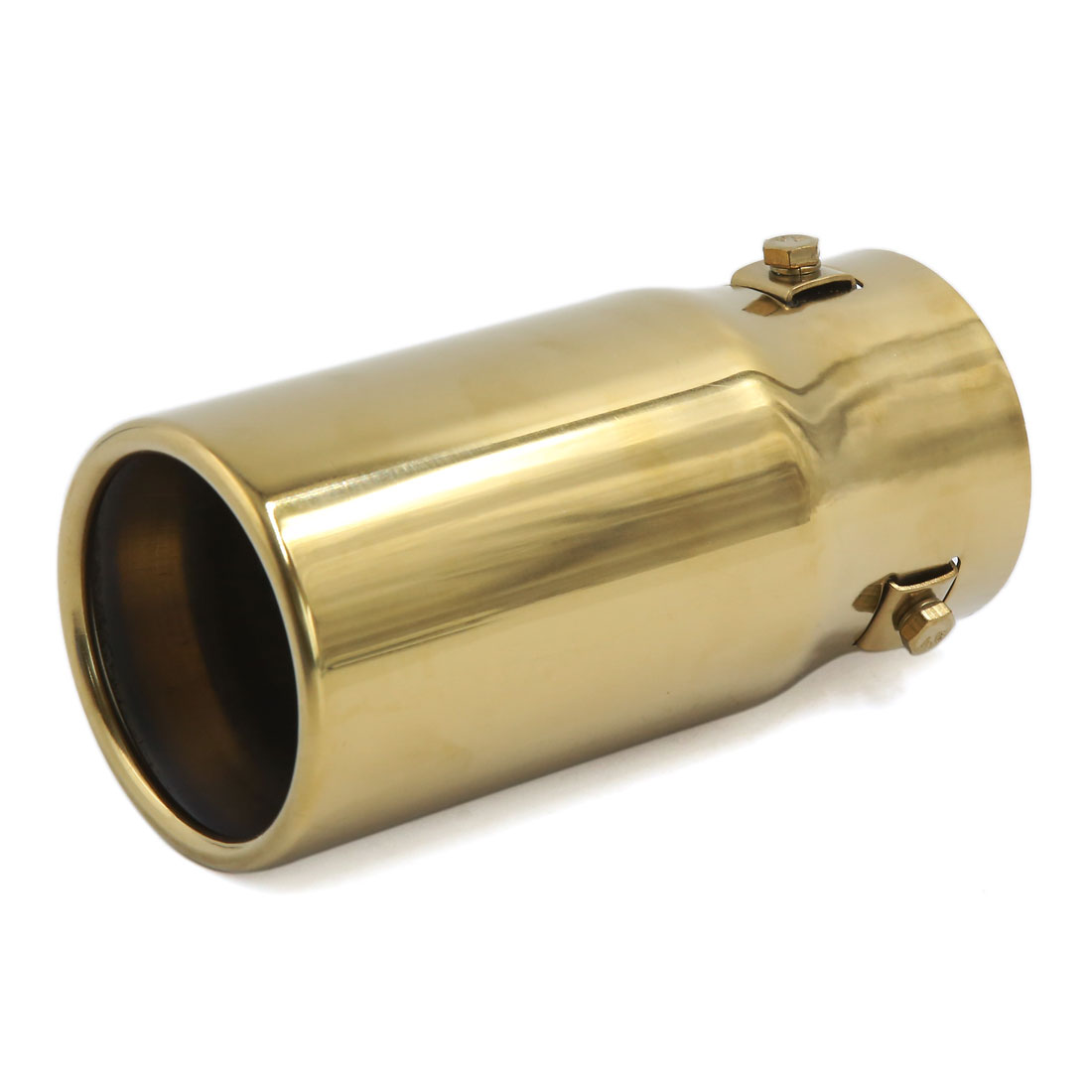 Universal Car Gold Tone Round Tip Exhaust Muffler Tail Throat Pipe 66mm Inlet
