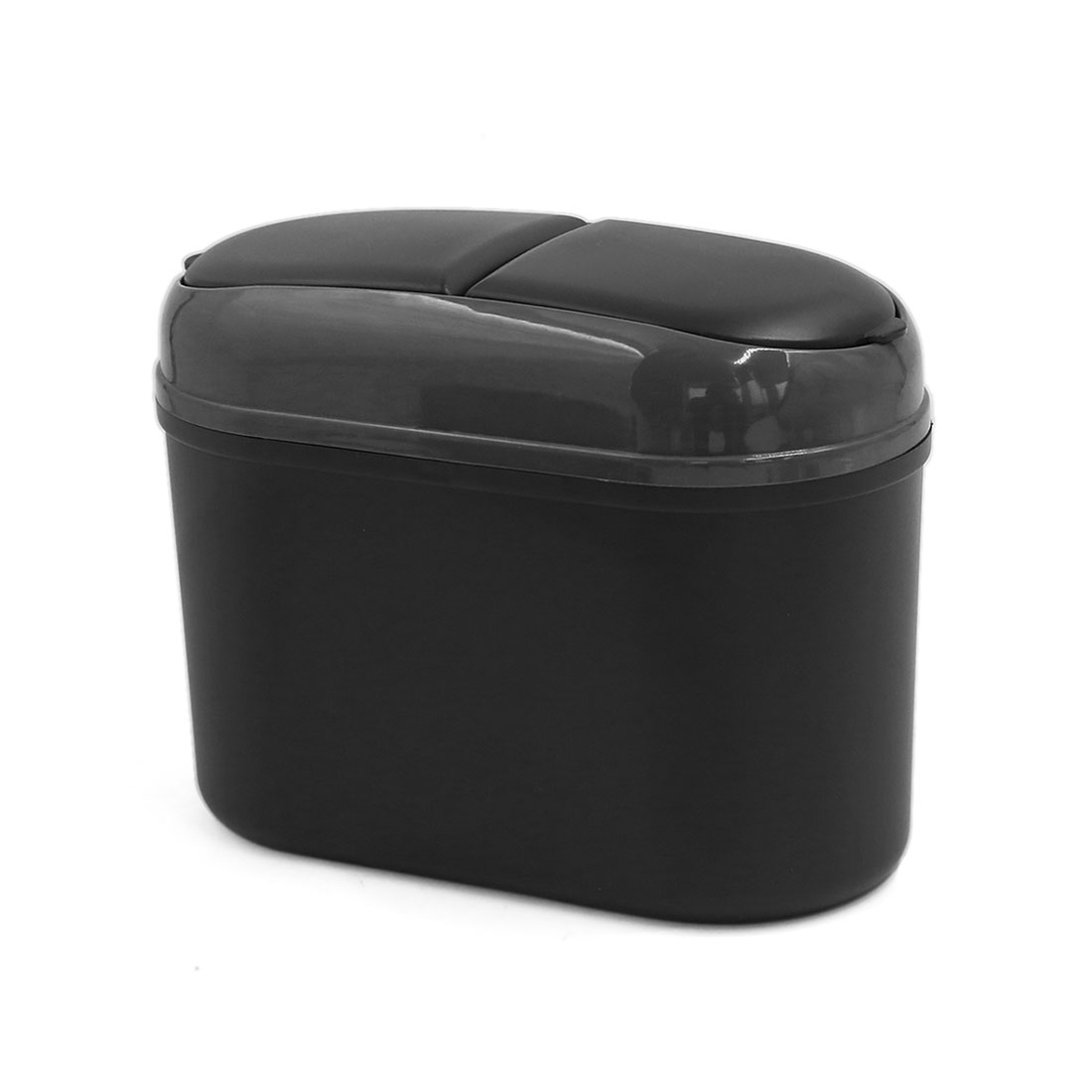 Portable Black Plastic Two Holes Trash Can Garbage Dust Case Holder for Home Car