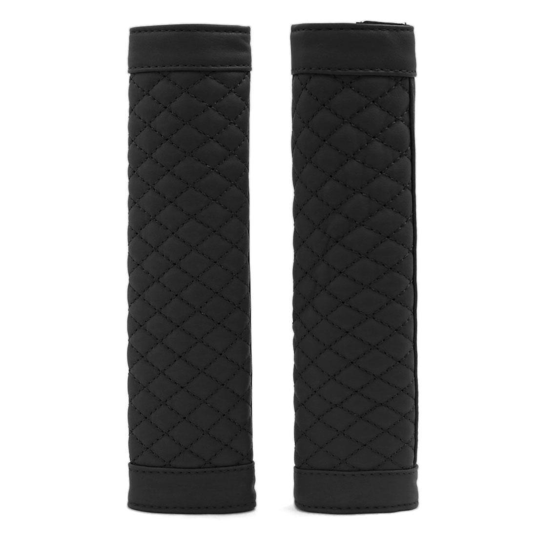 Pair Faux Leather Auto Car Safety Seat Belt Shoulder Pads Cover Cushion Black