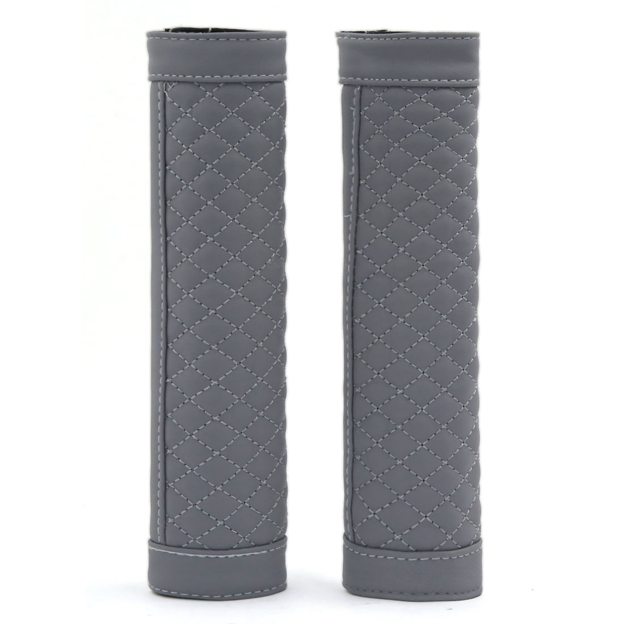 2pcs Hook Loop Fastener Car Seatbelt Cover Shoulder Comfortable Pad Cushion Gray