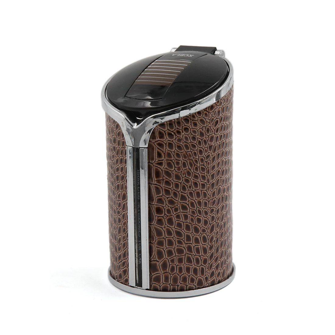 Brown Faux Leather Solar Power Ashtray Cigarette Ash Cylinder Holder Cup for Car