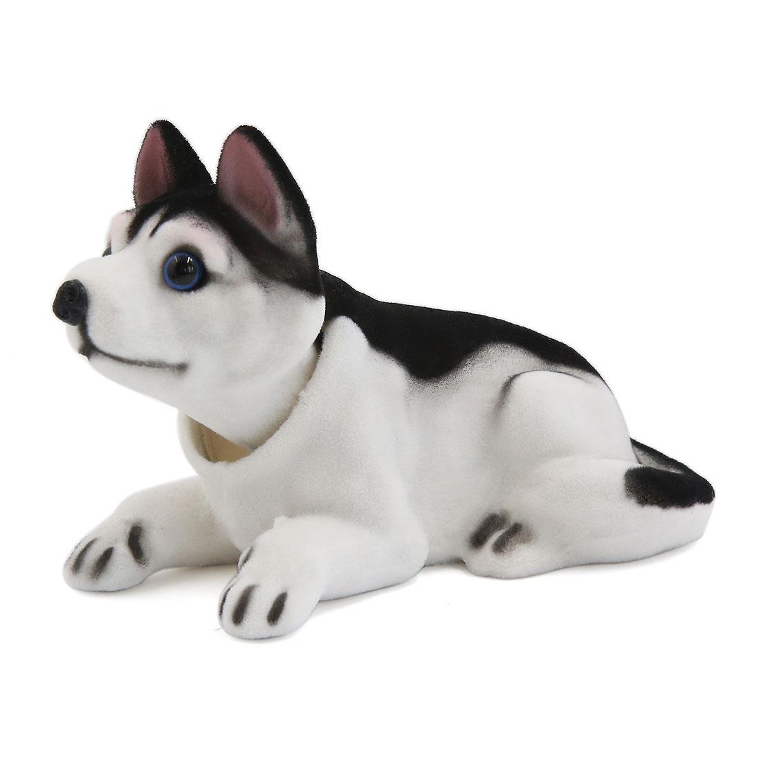 Car Interior Decor Bobbing Shaking Head Nodding Husky Dog Ornament Black White