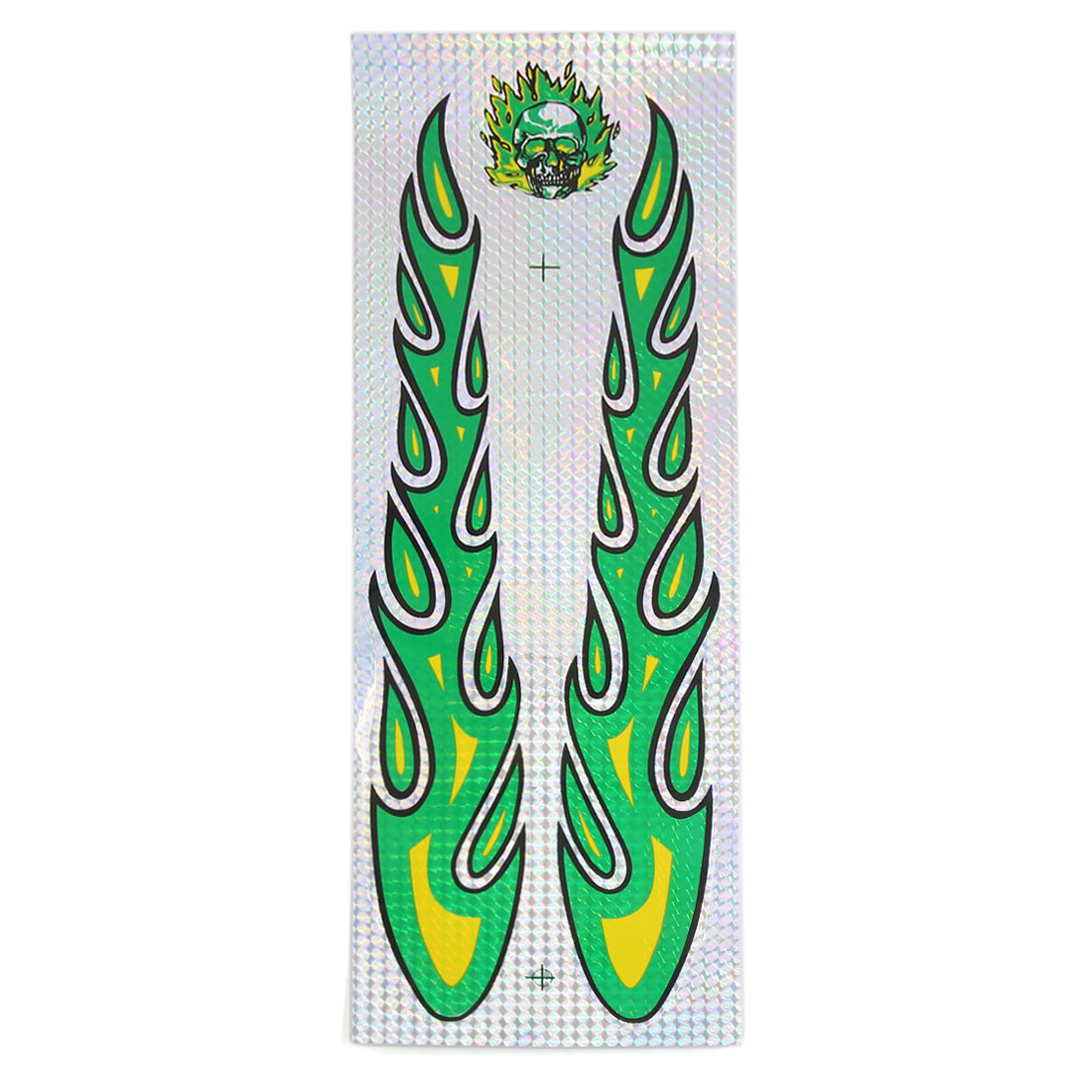 Green Yellow Skull Flame Pattern Car Body Sticker Vinyl Graphic Decal Adorn