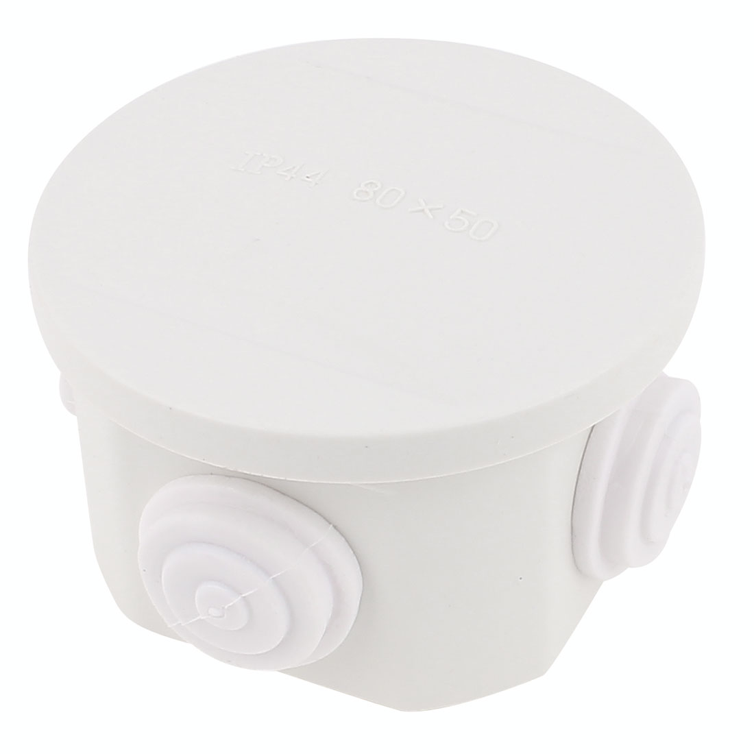 White ABS 4 Cable Entries Dustproof IP44 Enclosure Round Junction Box 80 x 50mm