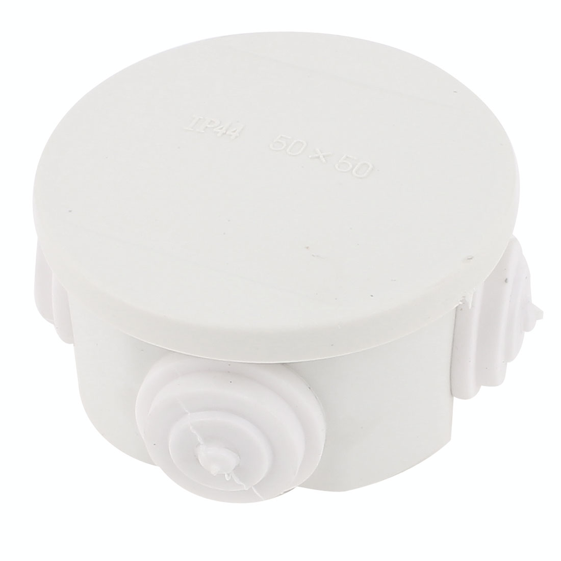 White ABS 4 Cable Entries Dustproof IP44 Enclosure Round Junction Box 50 x 50mm