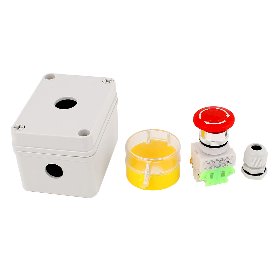 600V 10A Rotary Reset Red Emergency Stop Pushbutton Switch Control Box w PG11 Cable Gland Set