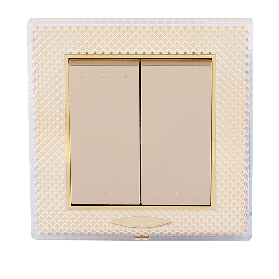 AC 250V 10A 2 Gang 1 way On/Off Press Button Flame Retardant PC Wall Switch Gold