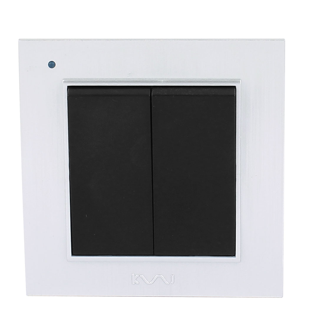 AC 250V 10A 2 Gang 1 way On/Off Wall Mounting Flame Retardant PC Switch Silver Tone