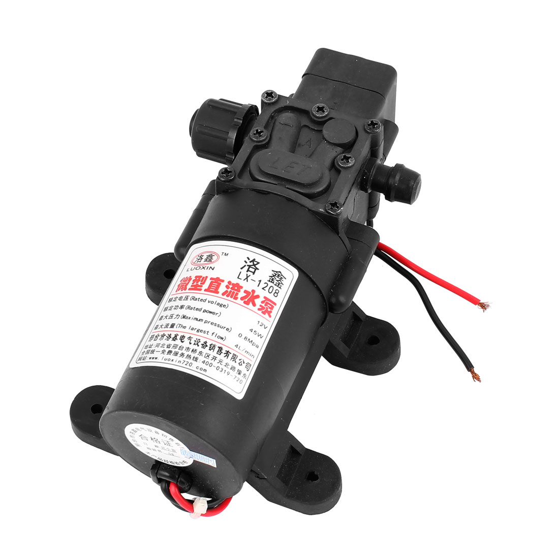 DC 12V 45W Micro Motor Pump 10mm Thread Outlet Straight Inlet Diaphragm Pump